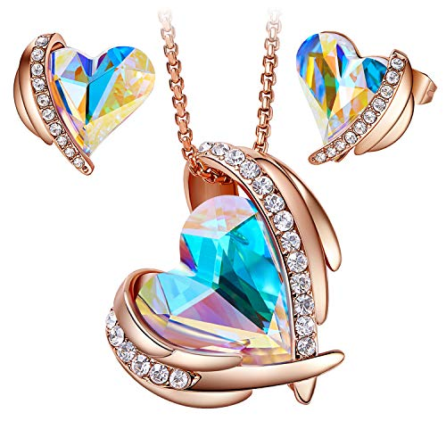 "CDE ""Pink Angel 18K Rose Gold Jewelry Set Women Heart Pendant Necklaces and Stud Earrings Sets Embellished with Crystals from Swarovski Gift for Mothers Day"
