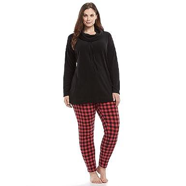 Womens SONOMA Goods for Life™ Pajamas: Microfleece Cowlneck Pajama Set, Black and Red