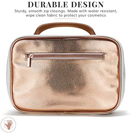 Large Hanging Toiletry Bag Women - Cosmetics Case/ Makeup Organizer with Hook with Clear Compartments by Lily England (Rose Gold)