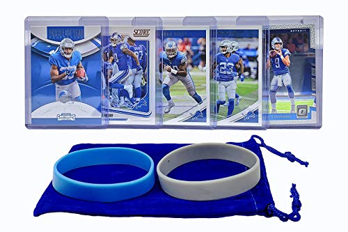 Detroit Lions Cards: Matthew Stafford, Kerryon Johnson, Kenny Golladay, Jarrad Davis, Darius Slay ASSORTED Football Trading Card and Wristbands Bundle