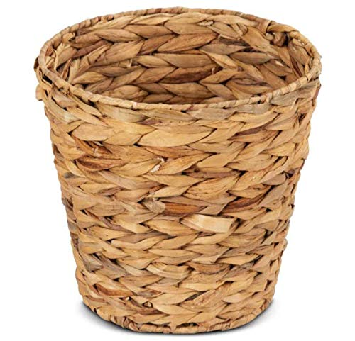 Giantex Seagrass Laundry Storage Basket With Two Wicker Waste Baskets Woven Natural Water Hyacinth Braided Laundry Basket With Two Handles Organize Toys, Clothes, Blankets, Towels, Home Decor for Kids (Waste Basket Large Round Woven)