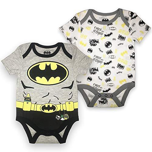 Justice League Baby Boys Newborn Infant Batman 2 Pack Snap Closure Bodysuit Onesie Grey and White 3-6 Months]()