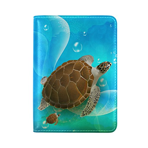 Sea Turtle Genuine Real Leather USA Passport Holder Cover Travel ()