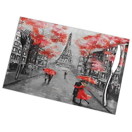 TianHeYue France Paris Eiffel Tower Romantic Placemats Set of 6, Washable Table Place Mats for Kitchen Dining Home Decoration, 12 X 18 Inch