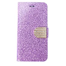 SODIAL(R) Popular Luxury Crystal Diamond Bling Glitter Purple Wallet Flip PU Leather Stand Snap-on Case&Cover for iPhone6 Plus 5.5 Inches