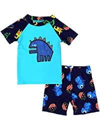 Boys Short Sleeve Rash Guard Dinosaur Swimsuit Set (3T(95-105cm), Blue)