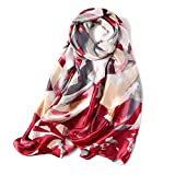 Summer Silk Scarf for Women Shawls Wraps Beach Stoles Smooth Print Pashmina Hijab (Pattern 04 Red)