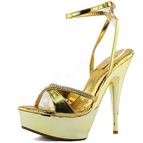 レディースCeleste nicole-05メタリックラインストーンストラップサンダルファッション靴
