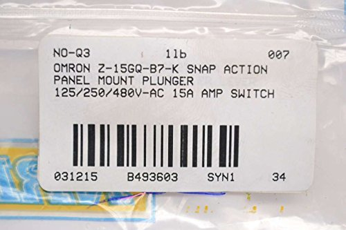 OMRON Z-15GQ-B7-K Snap Switch,15A,SPDT,Panel Mount Plunger