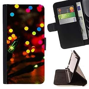 BullDog Case - FOR/Apple Iphone 4 / 4S / - / party city lights colorful bright lantern night /- Monedero de cuero de la PU Llevar cubierta de la caja con el ID Credit Card Slots Flip funda de cuer