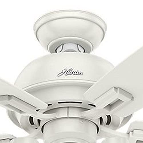 Hunter Fan 44 inch Fresh White Ceiling Fan with Light and LED bulbs Renewed