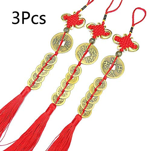 fairy maker 3 Set Chinese Feng Shui Coins with Handmade Red Tassels Wall Hanging Decoration for Wealth and Success ()