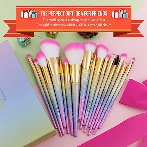 Docolor Makeup Brushes 16Pcs Fantasy Make Up Set Foundation Concealer Cosmetic Eyeshadow Brush Kit