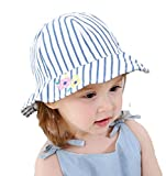 DANMY Girl Brim Sun Protection Hat Toddler Flower Print Cap Infant Hat (S (Head Circumference 18.5 inches), Blue Stripe)