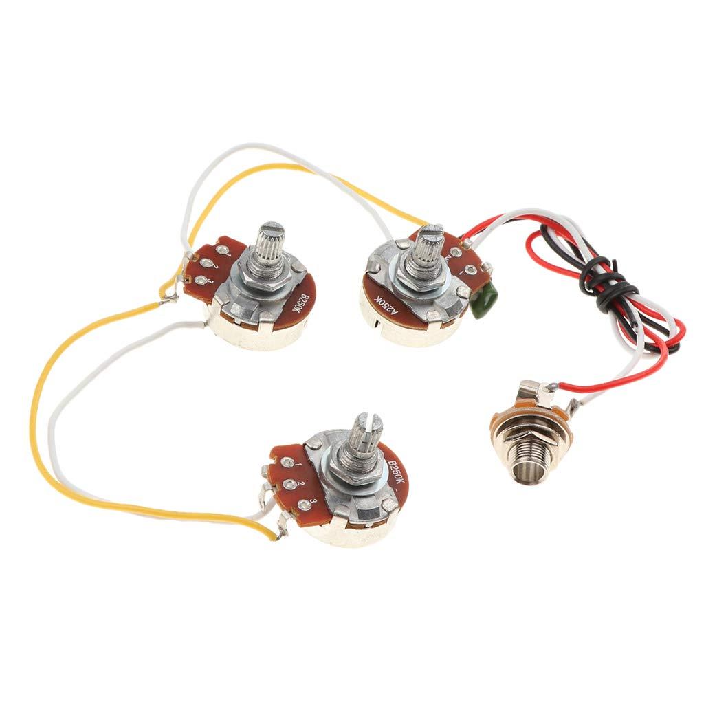 Homyl 1 Conjunto Arné s de Cableado de Bajos Circuitos Pot A250k B250k Kit de Circuito Prealambrado 07550082001165189372