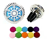 Car Essential Oil Diffuser Vent Clip with 10 Refill Pads,Horsky Car Air Vent Aromatherapy Fragrance Perfume Air Freshener Locket with Glass Diamonds 4 Stainless Steel Feet-Snowflake