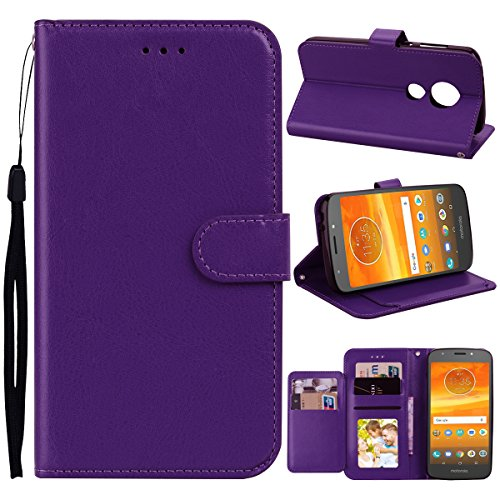 Moto E5 Plus Case, Moto E5 Supra Case, Asstar [Cred Card Slots] Luxury PU Leather Wallet Flip Folio Stand Holder Protective Case Cover for Motorola Moto E Plus (5th Genrtation) (Purple)
