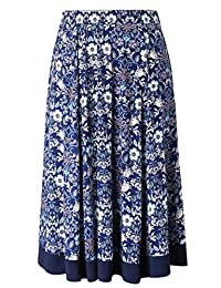 Chicwe Women's Plus Size Flared Elastic Waist Skirt with Calf Length 1X-4X