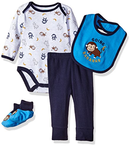 Bon Bebe Baby Boys' 4 Piece Pant Set with Bib Bodysuit and Booties, Going Bananas Blue, 6-9 Months