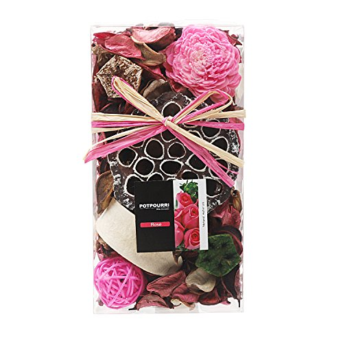 Qingbei Rina Gifts,Pink Rose Scent Potpourri Bag,Including Lotus pod,Flower,Petal,Pinone,Rattan Ball,Sepa Takraw,Perfume Satchet in PVC Bags.Home Decoration.7oz. (Pink)