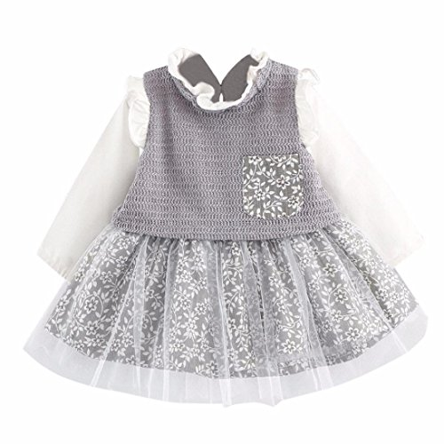Laimeng_world Newborn Toddler Baby Girls Tiered Tulle Bowknot Floral Princess Dresses (Gray, (Star Tiered Dress)