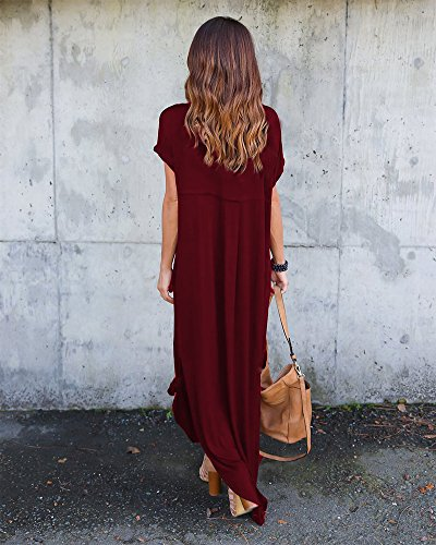 Rouge ZhuikunA Loose La Robe pour Courtes du Vin Occasionnels Femme Longueur Manchons Longues rrUqn70g