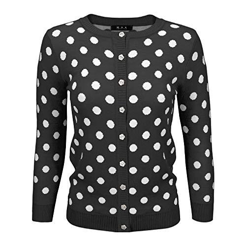 Women Cute Polka Dot Jacquard Crewneck Button Down Sweater Cardigan MK3104-BLK-M