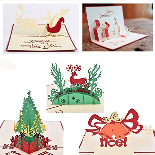 Oyep 5-Pack 3D Christmas- Assorted Christmas Pop Up Cards. This set of 3d Greeting Cards are a perfect way to Say Thank You (5Pack Christmas- Assorted)