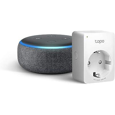 Echo Dot (3.ª generación), tela de color antracita +Tapo P100 Enchufe inteligente, compatible con Alexa