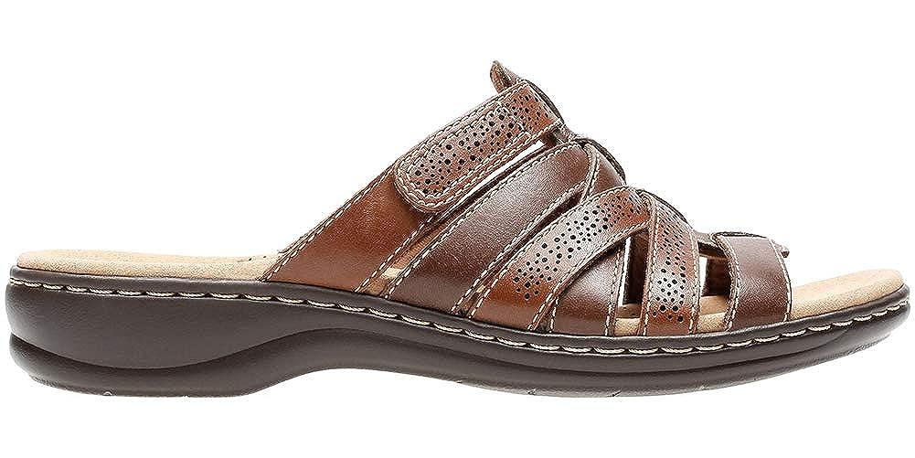 Amazon.com | CLARKS Womens Leisa Fields Open Toe Casual Slide Sandals, Brown, Size 9.0 | Sandals