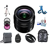 Panasonic LUMIX G LEICA DG SUMMILUX Lens, 12mm, F1.4 ASPH., Wide Angle, Professional Mirrorless Micro Four Thirds, H-X012 (USA BLACK) + Deluxe Accessory Kit