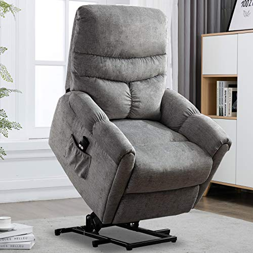 CANMOV Power Lift Recliner Chair for Elderly- Heavy Duty and Safety Motion Reclining Mechanism-Antiskid Fabric Chair with Overstuffed Design, Gray