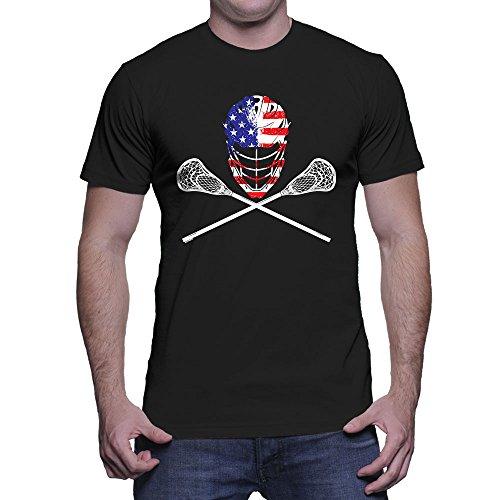 HAASE UNLIMITED Men's Lacrosse Helmet Crossed Sticks T-Shirt (Black, ()