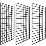 Only Garment Racks #1899B Grid Panels - Perfect Metal Grid for Any Retail Display, 2' Width x 4' Height, 3 Grids Per Carton (Black) (Pack of 3)