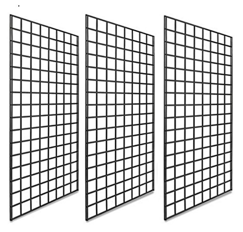 (Only Garment Racks #1899B Grid Panels - Perfect Metal Grid for Any Retail Display, 2' Width x 4' Height, 3 Grids Per Carton (Black) (Pack of 3))