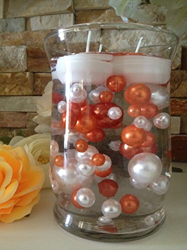 Vase Filler Pearls For Floating Pearl Centerpieces, 80 Coral Orange & White Pearls Jumbo & Mix Size No Hole Pearls, (Transparent Gel Beads Required To Create Floating Pearls Sold (Coral Wedding Centerpieces)