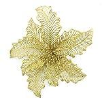 YJBear-10-pcs-78-Inch-Christmas-Glitter-Hollow-Artificial-Poinsettia-Flower-Christmas-Tree-Decoration-Xmas-Wedding-Party-Fake-Flower-Home-Decor-Golden