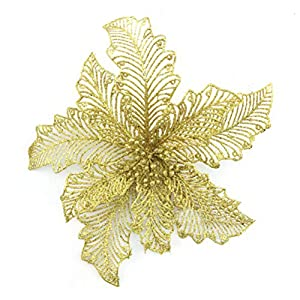 YJBear 10 pcs 7.8 Inch Christmas Glitter Hollow Artificial Poinsettia Flower Christmas Tree Decoration Xmas Wedding Party Fake Flower Home Decor 77