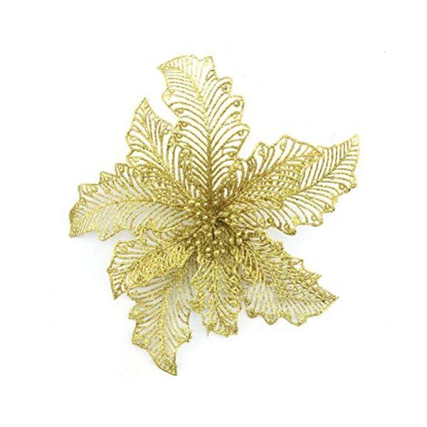 YJBear-10-pcs-78-Inch-Christmas-Glitter-Hollow-Artificial-Poinsettia-Flower-Christmas-Tree-Decoration-Xmas-Wedding-Party-Fake-Flower-Home-Decor