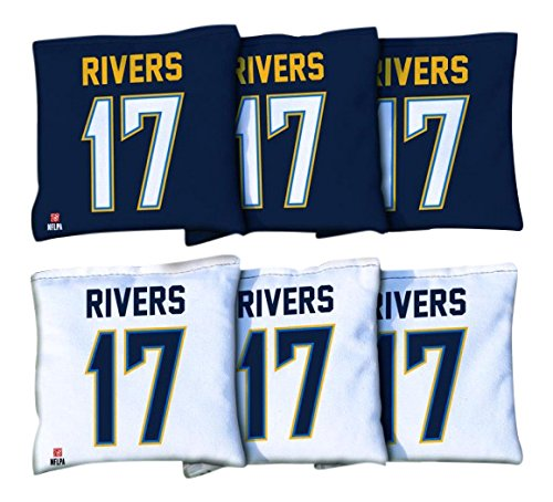 Victory Tailgate 8 Los Angeles Chargers NFLPA Philip Rivers Regulation Corn Filled Cornhole Bags