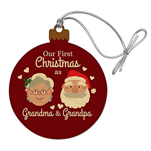 Our First Christmas as Grandma Grandpa Santa Mrs. Claus Wood Christmas Tree Holiday Ornament -  Graphics and More, ORN.RND.WOOD.Z000772