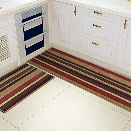 2 Piece Non Slip Kitchen Mat Rubber Backing Doormat Runner