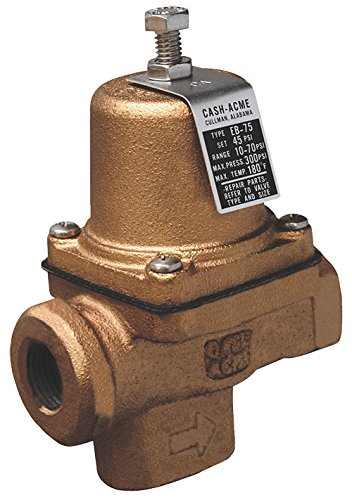 - Cash Acme 22999-0045 Pressure Regulator, EB75 FPT X FPT Cartridge Based Design, 10 psi 70 psi Range, 1/2