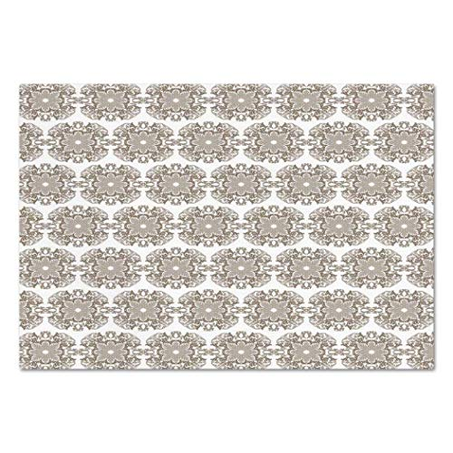 VAMIX Sticker [ Taupe,Vintage Round Baroque Style Ornament Pattern in Damask Inspired Design Botany Garden,Taupe White ] Self-Adhesive Vinyl Wallpaper/Removable Modern Decorating Wall Art -