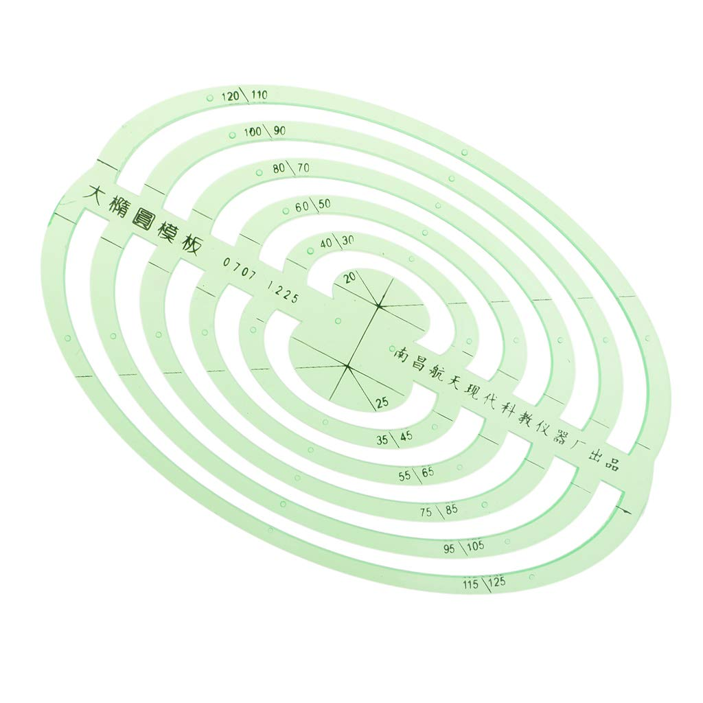 SM SunniMix 1 Pc Plastic Green Measuring Templates Geometric Rulers for Office and School, Building formwork, Drawings templates - Large Oval by SM SunniMix (Image #7)
