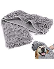 SISIRI Dog Towel, Ultra Absorbent Microfiber Chenille Durable Pet Bath Towel with Hand Pockets, for Any Pet - Quick Drying and Machine Washable