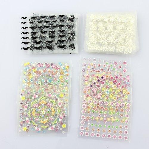 YAKO 50 Blatt 3D Nail Decals Tipp Nail Art Sticker Mix Farbe selbstklebende Aufkleber Blumendekoration