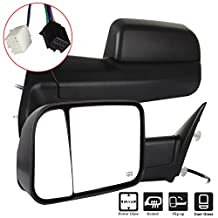 SCITOO Towing Mirror for 2011-2015 Ram 1500 2500 3500 2009-2010 Dodge Ram 1500 Black power heated Side View Pair Mirrors