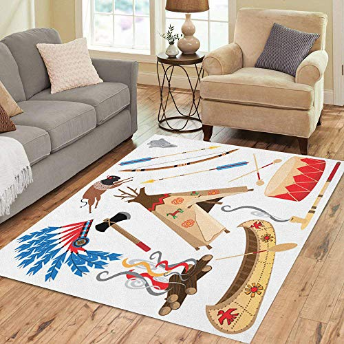 Semtomn Area Rug 3' X 5' Cowboy American Indian Clipart and White Teepee Arrowhead Drum Home Decor Collection Floor Rugs Carpet for Living Room Bedroom Dining Room