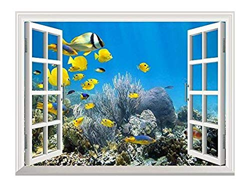Removable Wall Sticker Wall Mural Underwater Coral Reef Scenery with Colorful School of Fish Creative Window View Wall Decor